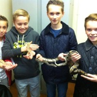 The boys loved the reptile handling party